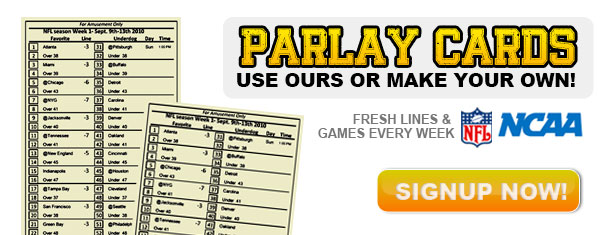 picture relating to Nfl Week 7 Printable Schedules referred to as Printable Personalized Parlay Playing cards - Parlay Playing cards At present